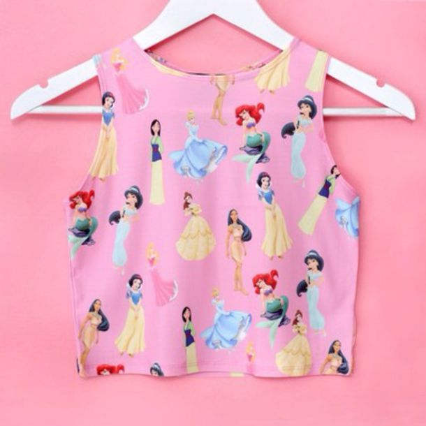 tank top disney blouse pink crop tops disney princess girly top