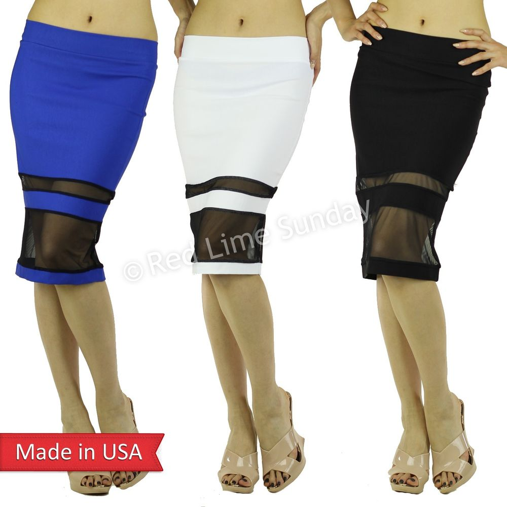 Trend Color Bengaline Black White Blue w/ Mesh Stripe Detail Pencil Skirt USA