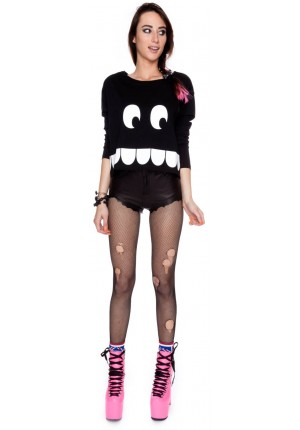 Lazy oaf toothy long sleeve boxy crop top