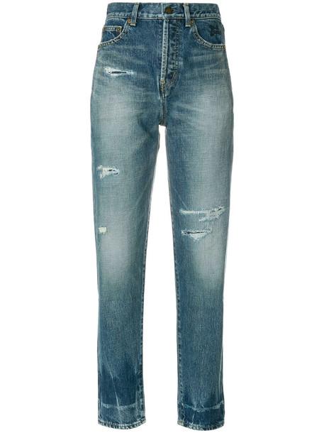 Saint Laurent - distressed fitted jeans - women - Cotton - 25, Blue, Cotton