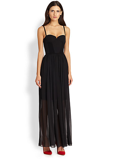 Alice   Olivia - Shakira Semi-Sheer Bustier Maxi Dress - Saks.com