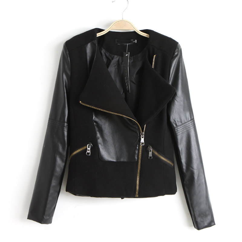 Europe Fashion Autumn Winter Faux Leather PU Sleeve Stitching Biker Jackets A57 | eBay
