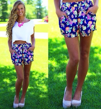 floral shorts floral fashion style blue neon summer outfits