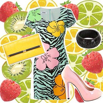 bag summer look at lvr.com summer outfits summer colour yellow dress pumps fruity fun