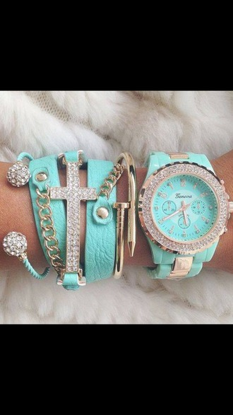 jewels watch light blue cross diamonds gold