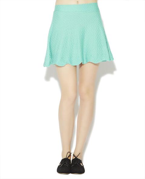 Textured Scallop Edge Skater Skirt  | Wet Seal