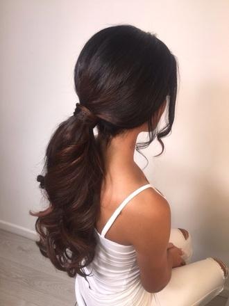 hair accessory pbhairuniverse ponytail brunette hair long hair curly hair