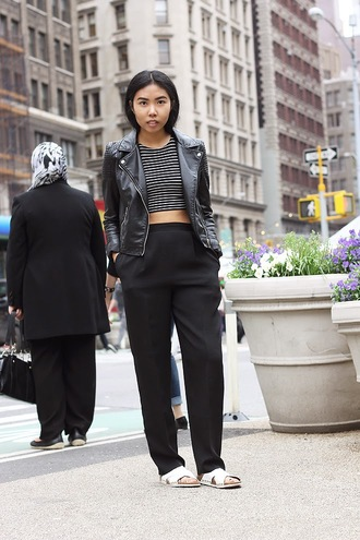 fashion of a novice blogger crop tops striped top black pants perfecto birkenstocks