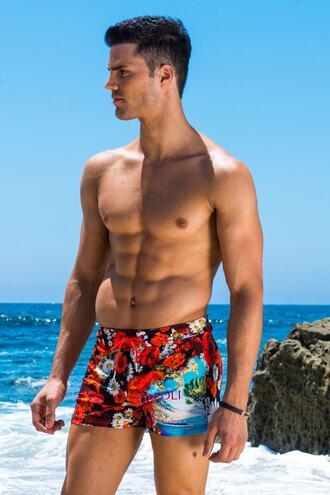 swimwear floral mens sauvage print red sauvage mens swimwear bikiniluxe