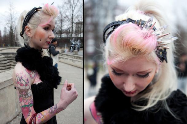 jewels headband spiked headband grunge soft grunge princess pudding black Accessory hair accessory
