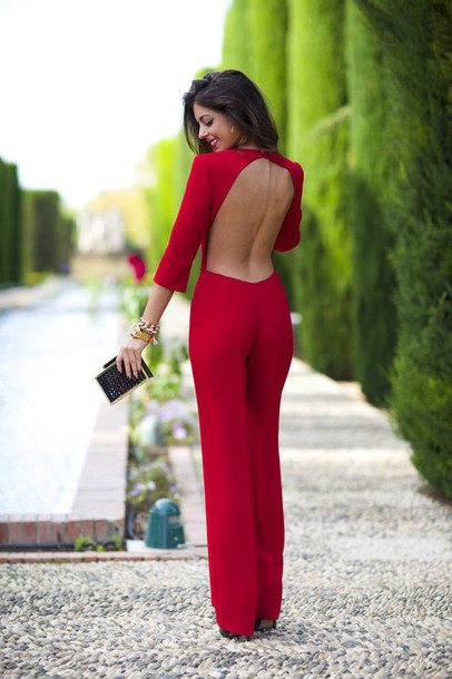 jumpsuit cocktail romper red romper romper red red long sleeve open back dress red jumpsuits