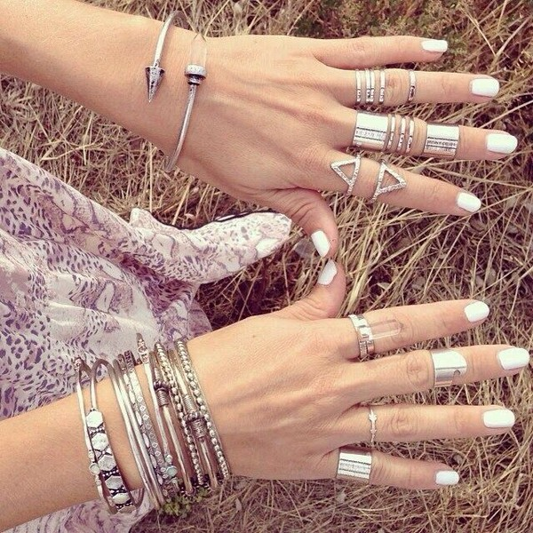 jewels silver ring nail polish bracelets