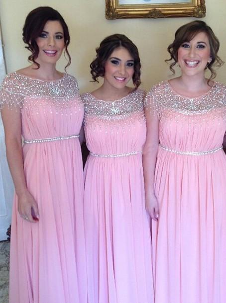 dress, bridesmaid, pink bridesmaid dress, floor length pink ...