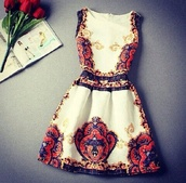 red dress,pattern,gold,dress,white,patterned dress,robe,vintage,girl,chic,flowers,floreal,vintage style,sicily,sicilian,sleeveless dress,classy dress,party dress,outfit,white dress,colorful dress,blue dress,orange dress,short dress,gold dress,party,classy,fashion,style,trendy,feminine,elegant,boogzel,print dress