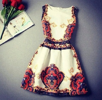 red dress pattern gold dress white patterned dress robe vintage girl chic flowers floreal vintage style sicily sicilian sleeveless dress classy dress party dress outfit white dress colorful dress blue dress orange dress short dress gold dress party classy fashion style trendy feminine elegant boogzel print dress