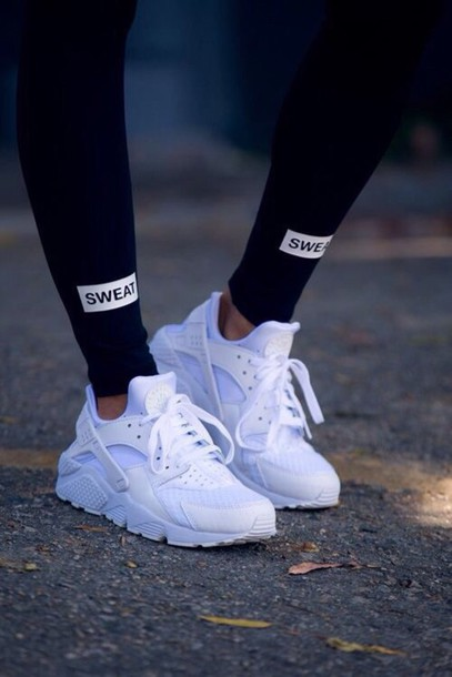 new concept 80f96 e849c leggings black leggings active leggings shoes nike huarache white shoes  pants sweat leggings black nike shoes