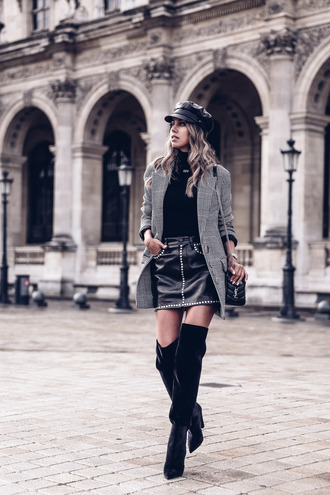 vivaluxury - fashion blog by annabelle fleur: nyfw mini moment blogger shoes top bag jacket skirt sweater hat fall outfits blazer mini skirt leather skirt ysl bag boots over the knee boots