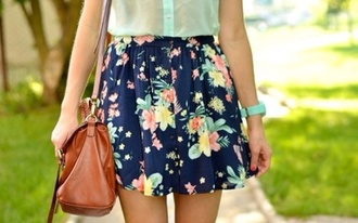 skirt blue with designs bag flowers print blue dress aqua blue shirt floral skater mint green flowers skater skirt flowers skirt