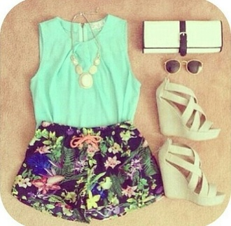 shorts floral fashion mint blouse necklace wedges purse sunglasses