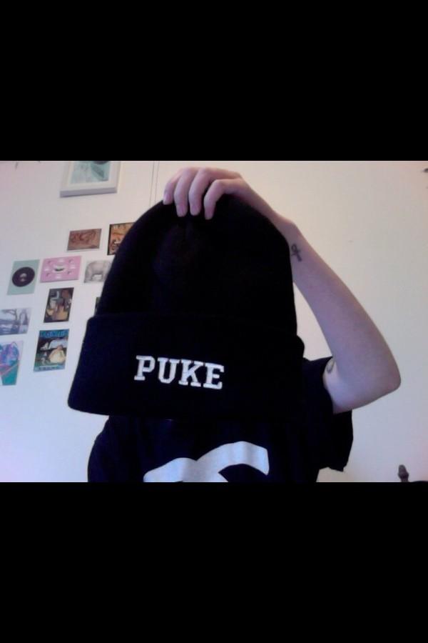 hat black puke beanie