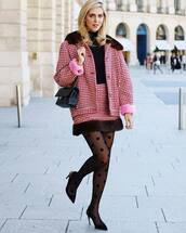 pants,tights,polka dots,high heel pumps,mini skirt,jacket,turtleneck,earrings