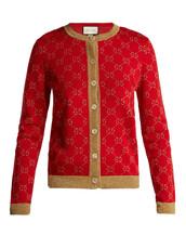cardigan,jacquard,cotton,knit,red,sweater