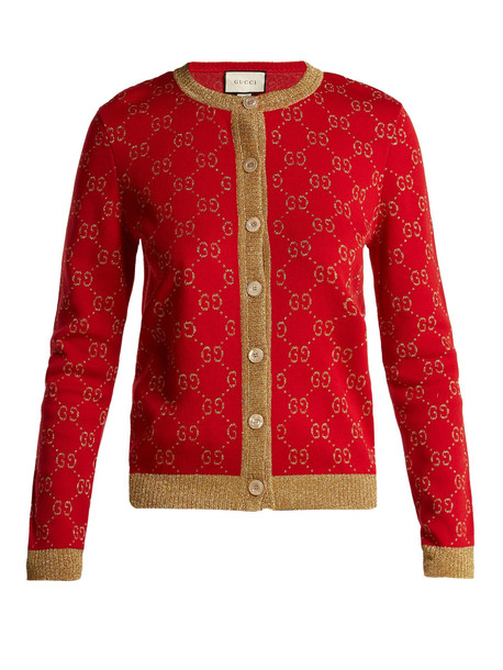 cardigan cardigan jacquard cotton knit red sweater