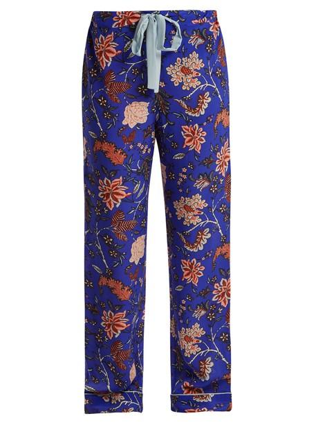 floral print silk blue pants