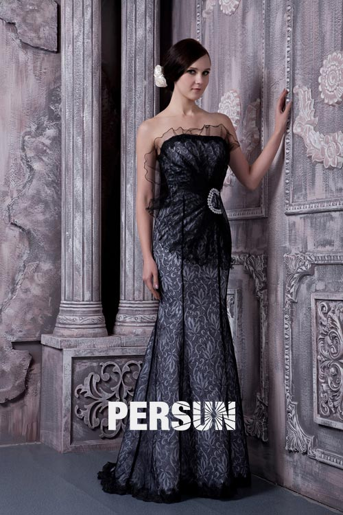 Strapless Empire Black Mermaid Evening Dress [TYWL01004] - PersunMall.com