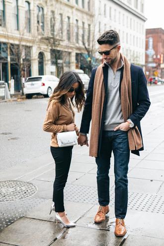 crystalin marie blogger sweater scarf pants shoes bag jeans jewels shoulder bag high heel pumps pumps beige sweater black pants menswear