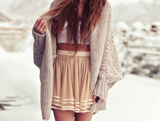 sweater cute girly warm winter sweater skirt shirt beige tumblr outfit