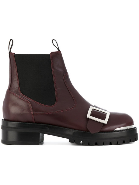Alexander Mcqueen women boots leather red shoes