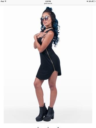 dress black dress zipper dress short dress