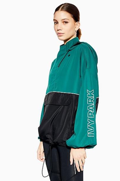 TopShop Colour Block Jacket by Ivy Park - Dark Green