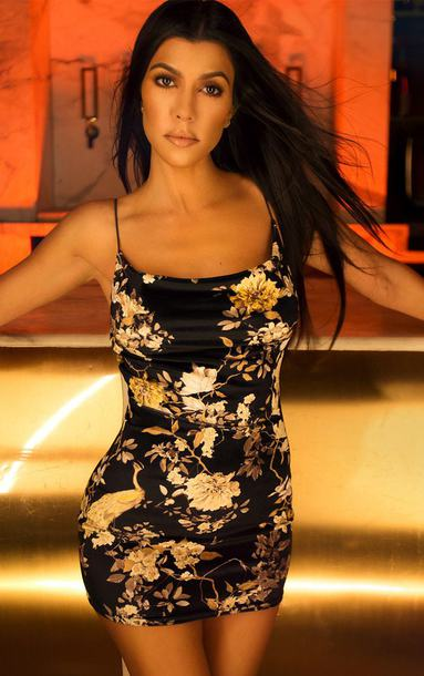 dress floral floral dress mini dress bodycon dress kourtney kardashian kardashians