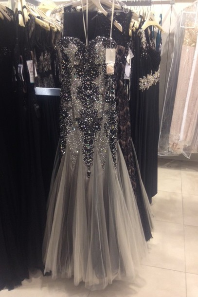 dress prom dress prom dress black dress rhinestones beaded mermaid prom dress strapeless