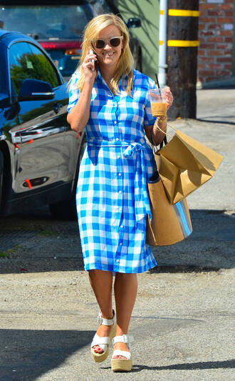dress midi dress plaid wedges reese witherspoon streetstyle