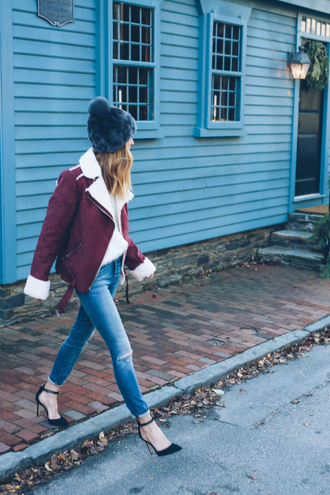 prosecco and plaid blogger jacket jeans shoes hat sweater
