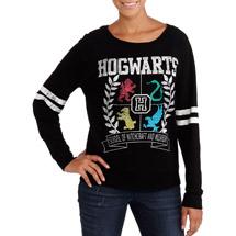 Juniors harry potter hogwarts crest athletic stripe long sleeve graphic sweatshirt