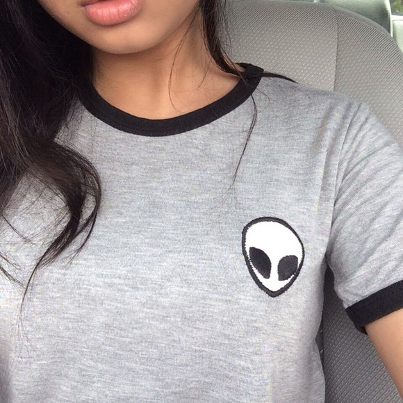 alien grunge blouse model pale emoji apparel dope tumblr outfit graphic tee back to school t-shirt grey gray alien badge badge symbol sewn logo alien face gray t-shirts indie top tumblr top Tshirt alien grey cute hipster love dark