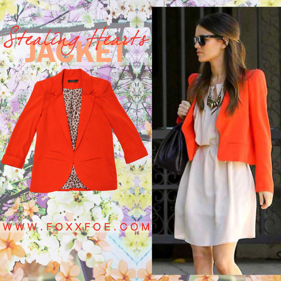 orange jacket jacket blazer bright orange boyfriend blazer leopard print clothes clothing bright colored foxx foe