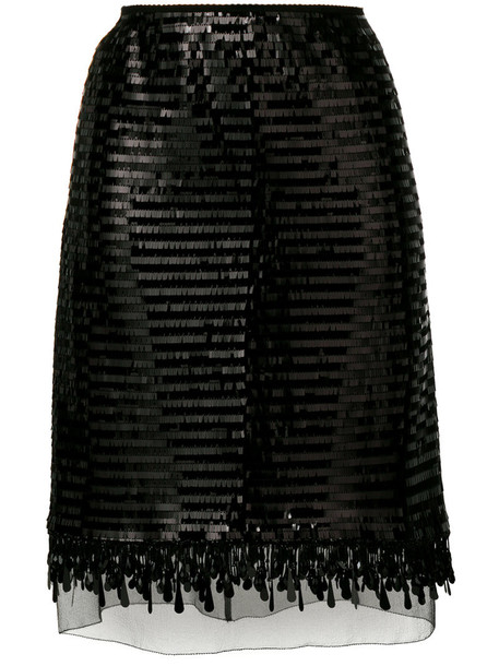 Marc Jacobs skirt sequin skirt women black silk