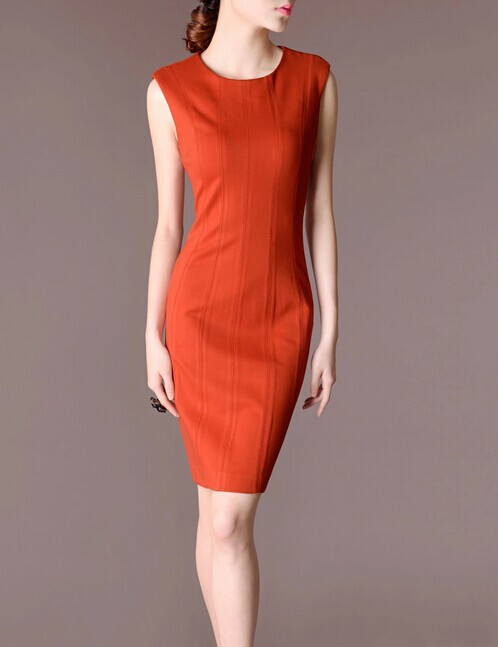 Orange Sleeveless Elegant Noble Summer OL Women Fashion Dress lml7100 - ott-123 - Global Online Shopping for Dresses