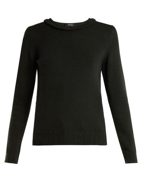 A.P.C. sweater ruffle wool knit dark green