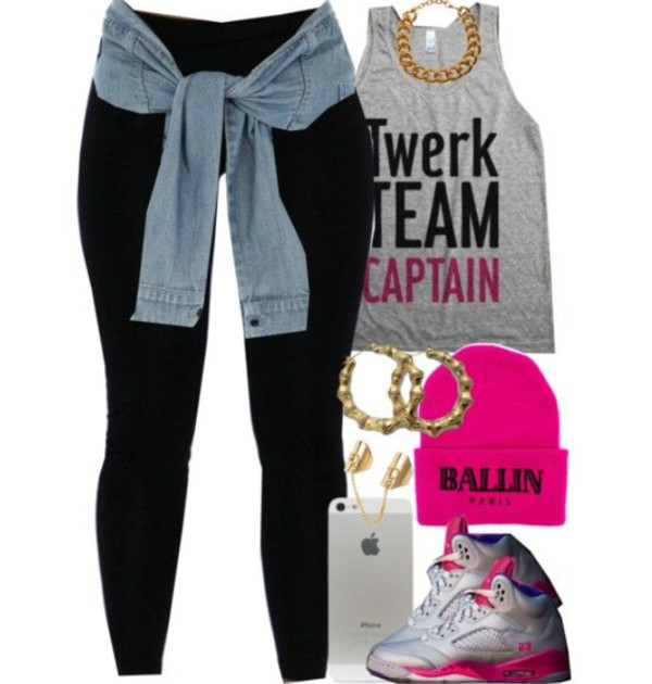t-shirt twerk grey t-shirt leggings denim jacket retro jordans gold earrings stud earrings gold shoes hat jacket jewels