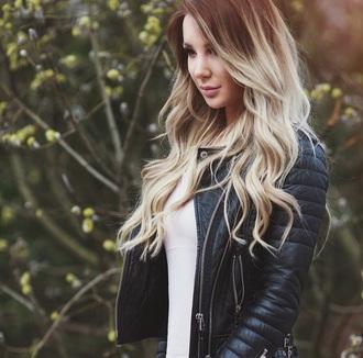 jacket curly hair hairstyles blonde hair biker jacket