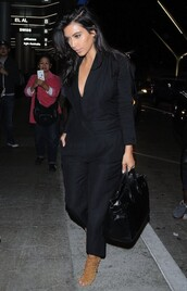 bag,jumpsuit,black,sandals,kim kardashian