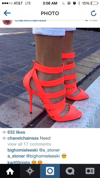 shoes coral open toed heels strappy sandals strappy heels bright