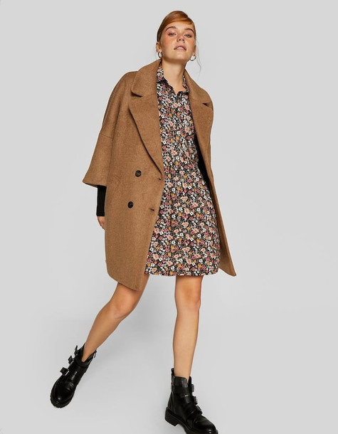 Stradivarius Cloth Coat With Chunky Knit Sleeves In Beige