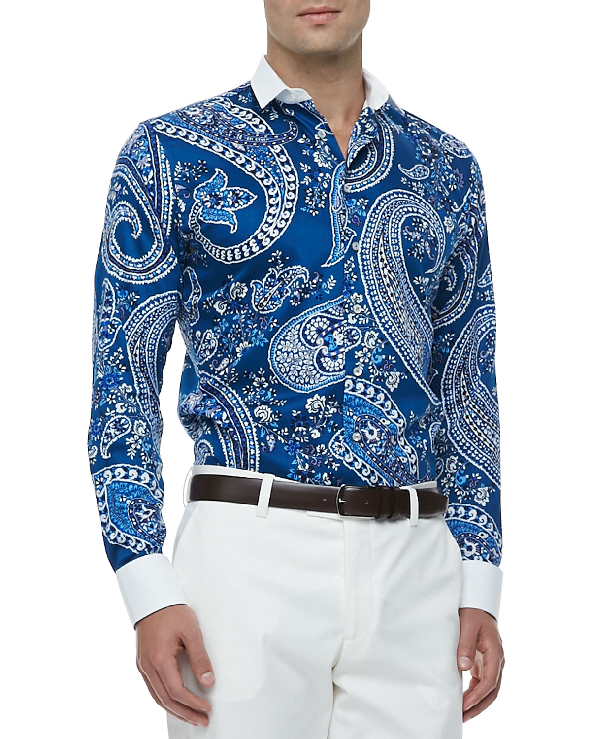 Bankers Collar Paisley-Print Sport Shirt, Blue